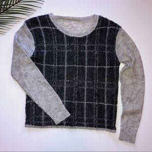 LOFT Black and Gray Plaid Mohair Sweater